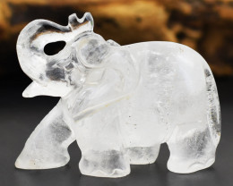 Genuine Rare White Quartz Carved Elephant