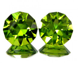 3.05Cts Genuine Excellent Natural Peridot Round precision Cut Matching Pair
