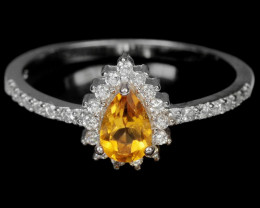 8.00Ct Sterling Silver 925 Natural Yellow Citrine Size 7.25 Ring A1153