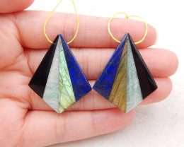 44.5cts natural Labradorite,lapis lazuli,hemimorphite and obsidian intarsia
