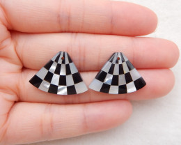 20cts natural obsidian, pearl oyster intarsia earring beads i007