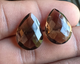 Smoky Quartz Checkered Cut Pair 100% Natural Gemstones VA5934