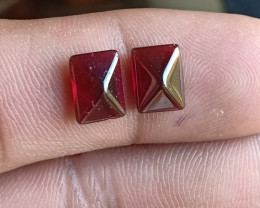 Natural Garnet Cabochon Caliberated Pair Genuine Gemstones VA5965