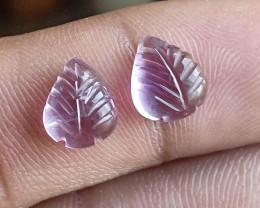 Carved Amethyst Gemstone leaf Pair 100% Natural VA5988