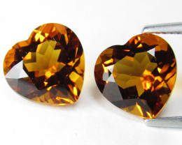 7.85Genuine  Natural Citrine Heart Shape 10mm collection Pair REF VIDEO