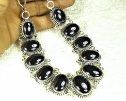 628.5 Tcw. Natural Shimmering Black Hematite Necklace - Gorgeous