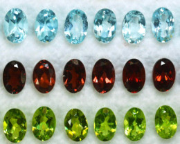 11.77Cts Natural Semi Precious Mix Stones 6x4mm Oval 25Pcs Parcel