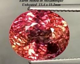 10.69ct Rubellite Tourmaline - UNHEATED  Purplish Pink  13.4 x 11.2mm
