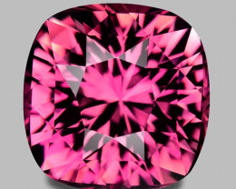 Flawless, custom precision cushion cut pink tourmaline.