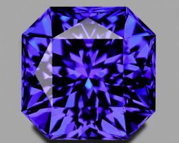 High gem, custom precision asscher cut purplish blue tanzanite.