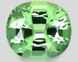 Flawless, custom precision cushion cut neon mint green tourmaline.