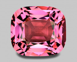 Flawless, custom precision cushion cut pink Mahenge spinel.