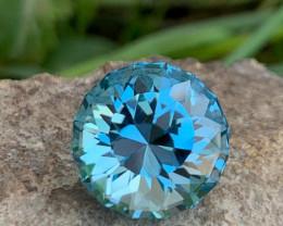 IF 20.44 CT Beautiful Color Round Brilliant Cut London Blue Topaz