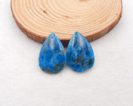 64.5cts 2pcs blue apatite crystal pendant,apatite gemstone,water drop penda