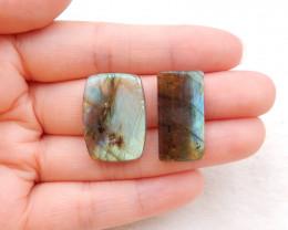 33.5cts natural labradorite cabochons pair,handmade gemstone ,labradorite c
