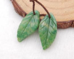11.5cts african jade earrings pair,handmade gemstones,Carving leaf earrings