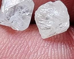 NATURAL   australian D WHITE DIAMOND ROUGH  4ctw-2pcs