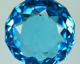 ~CUSTOM CUT~ 9.56 Cts Natural Blue Topaz Pretty Fancy Round USA