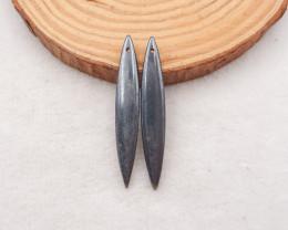 29.5cts natural hematite earrings beads pair, hematite beads D921