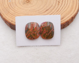 21.5cts natural multi color picasso jasper cabochon pair,natural gemstones