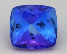 8.70Ct Natural D Block Vivid Blue Tanzanite IF Flawless Cushion Cut B3001