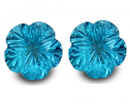 7.96Cts Sparkling Natural Swiss Blue Topaz Flower Carving Pair For Earring