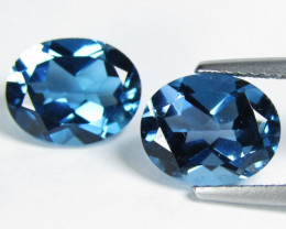 6.53Cts Sparkling Natural London Blue Topaz Oval Shape Matching Pair VIDEO