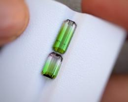 2.10 Carats Natural Bi Color Tourmaline Cut Stones