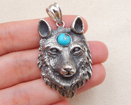 72.5cts handmade carved silver wolf head silver buckle pendant ,sleeping be