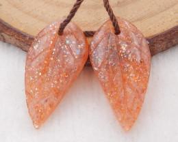 10cts natural sunstone earrings pair,handmade gemstones,carved leaf earring