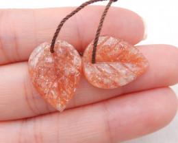 12.5cts natural sunstone earrings pair,handmade gemstones,carved leaf earri