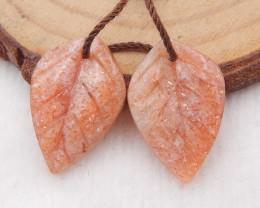 11cts natural sunstone earrings pair,handmade gemstones,carved leaf earring