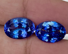13.50 CT 14X10 MM Master Cut Natural  Blue Tanzanite Designer Pair - TNS61