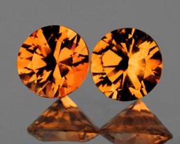5.00 mm Round Diamond Cut 2 pcs 1.75ct Golden Orange Zircon [VVS]