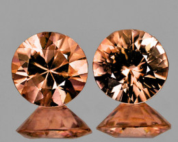 4.80 mm Round Diamond Cut 2 pcs 1.32ct Reddish Champagne Zircon [VVS]