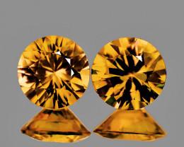4.80 mm Round 2 pcs 1.21ct Golden Yellow Zircon [VVS]