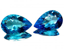 13.48Cts Sparkling Natural  Swiss Blue Topaz Pear Shape Matching Pair VIDEO