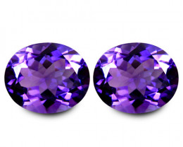 9.87Cts Unique Ultra Quality Natural Amethyst Oval Shape Matching Pair VIDE