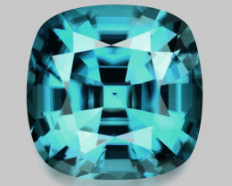 Flawless, precision cushion cut natural Cambodian zircon.