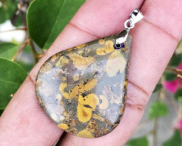 44.240 CT JASPER POP PATTEN 100% NATURAL UNHEATED PEENDANT