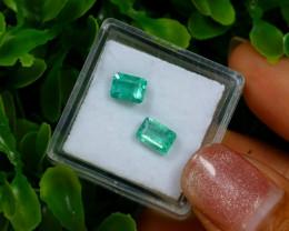 1.61Ct 2Pcs Natural Afghanistan Green Panjshir Emerald C0304
