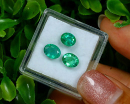 2.46Ct 3Pcs Natural Afghanistan Green Panjshir Emerald C0305