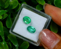 2.06Ct 2Pcs Natural Afghanistan Green Panjshir Emerald C0314