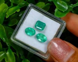 2.83Ct 3Pcs Natural Afghanistan Green Panjshir Emerald C0315