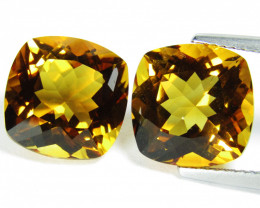 8.50Cts Wow Amazing Natural Citrine Cushion matching Pair REF VIDEO
