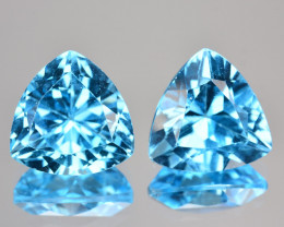 ~PAIR~ 7.32 Cts Natural Baby Blue Topaz 9mm Trillion Cut USA
