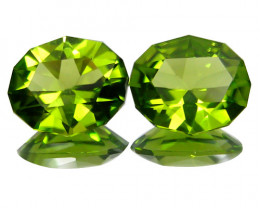 6.22Cts Genuine Excellent Natural Peridot Oval precision Cut  Matching Pair