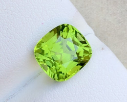 Parrot Green Color 4.40 Ct Natural Step Cushion Cut Top Quality Peridot