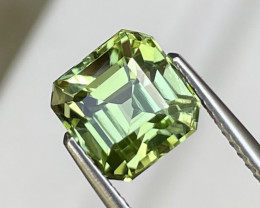 3.00 Cts Afghanistan AAA Grade Apple Green Natural Tourmaline Asscher Cut