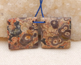 29cts rhyolite gemstone pendant beads pair,flower pattern gemstone beads D9